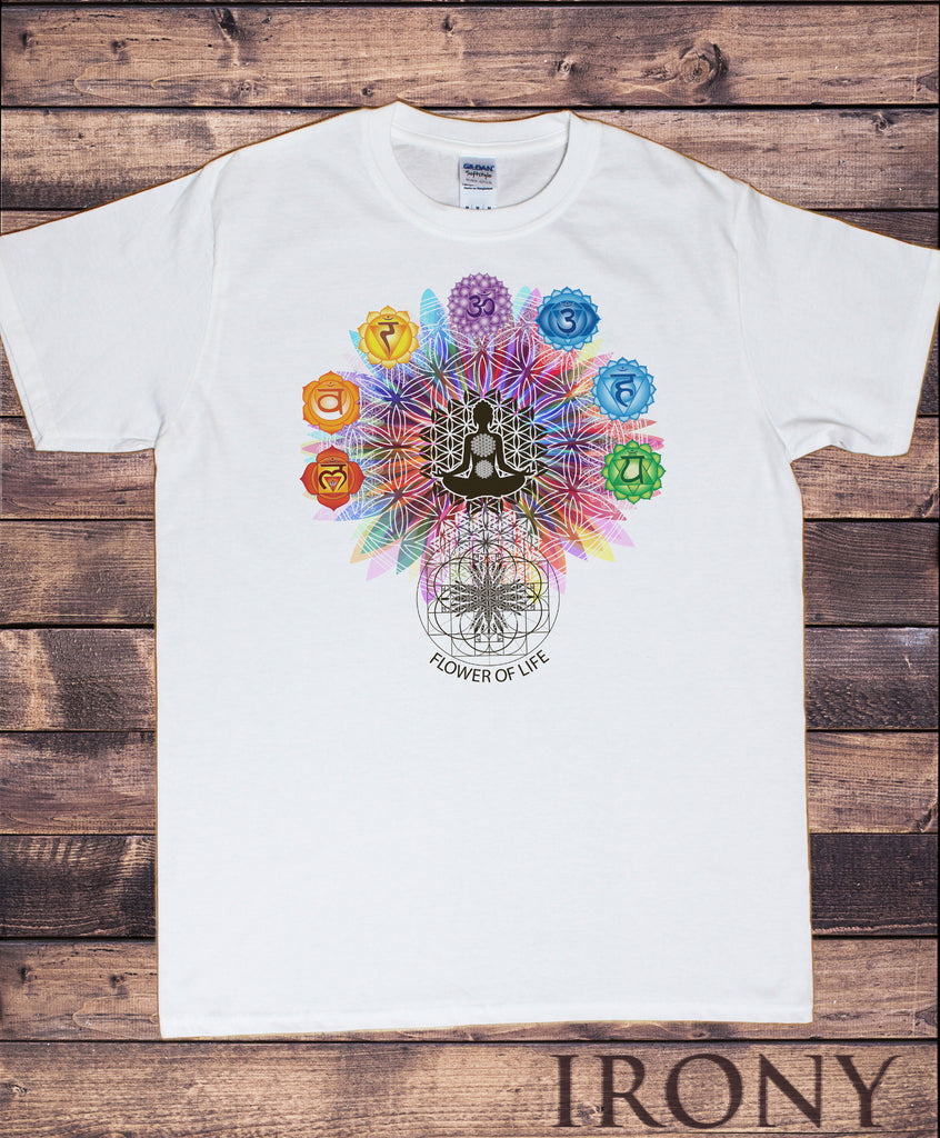 "Mens T-Shirt ""Flower Of Life"" Buddha Chakra Symbols Geometric Design TS796"