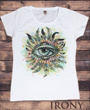 Women's White T-Shirt Red Indian Native Eye American Feathers- Eye Iconic Culture Novelty TS900