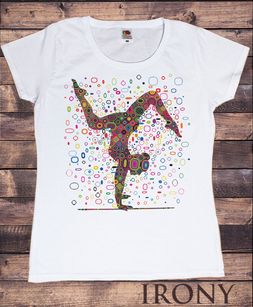 Women's White T-Shirt Yoga Colourful Shapes Buddha Chakra Meditation India Print TS917