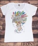 Women's White T-Shirt Tribal Red Indian Native American Feathers Culture Novelty TS927