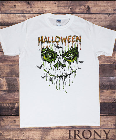 Men's White T-Shirt Halloween Scary Costume bats- Scary Face drip Horror Print TS934
