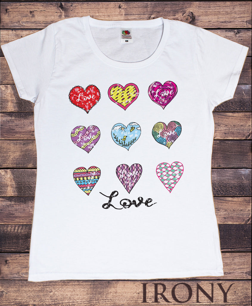 Women's White T-Shirt With Love Hearts- 9 different heart emotions Print TS938
