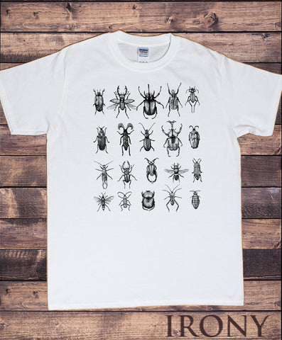 Men's Tee Creepy Crawlers- Insects All Over- Flies Bugs Print TS950