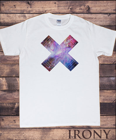 Men's White T-Shirt With Space Galaxy Cross Abstract effect Universe Print TS953