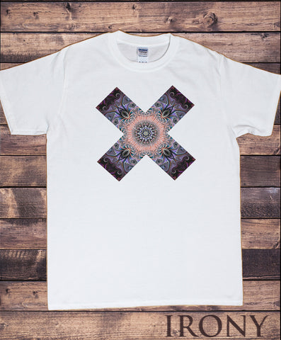 Men's White T-Shirt Cross illusional Fusion Geometric Shapes pattern Print TS955