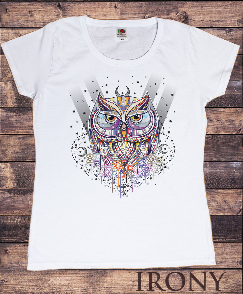 Women's T-Shirt Owl Native Night Moon and stars Abstract Print TS959