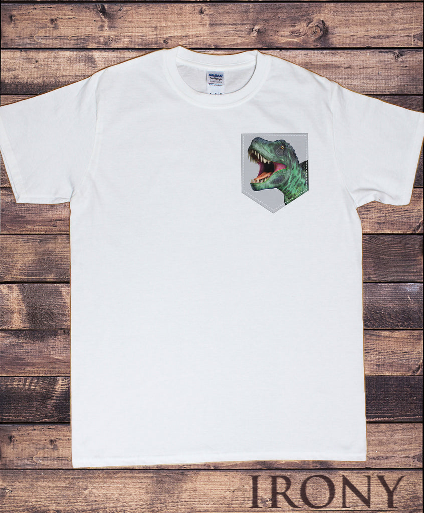Men's White Top Dinosaur Pocket - T-Rex Creature Fashion Print TS990