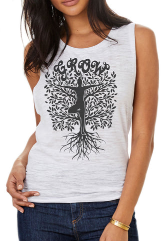 Women's Flow Scoop Tank Grow Yoga Tree Buddha Meditation Pose TSB1443