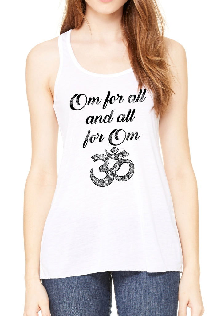 Women's Flowy Racerback Tank Om for all and all for one Meditation Peace Zen Boho TSB1463