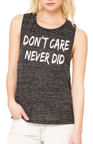 Women's Flow Scoop Muscle Tank Don't Care, Never Did Genuine Slogan Print TSB1436