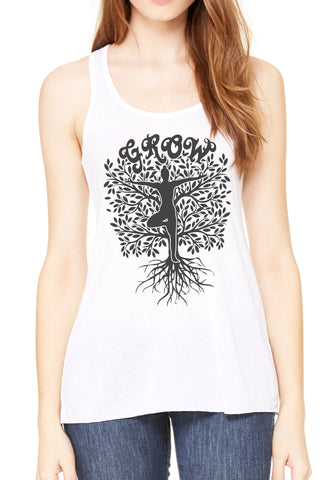 Women's Flowy Racerback Tank Grow Yoga Tree Buddha Meditation Pose zen TSB1474