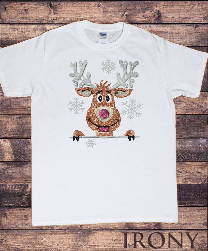 Mens White T-shirt Christmas Novelty Rudolph Reindeer Santa Effect Print TSE2