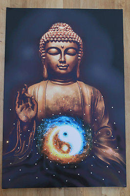 Irony Canvas/Giclee Prints Buddha Meditation,Ying Yang,Yoga Inspirational Spiritual Canvas Print India Zen