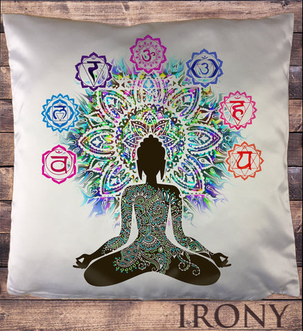 Irony Cushion Cover 34x35cm Aztec Love Buddha Chakra Symbols Meditation Zen Print Cushion Cover CUS1093