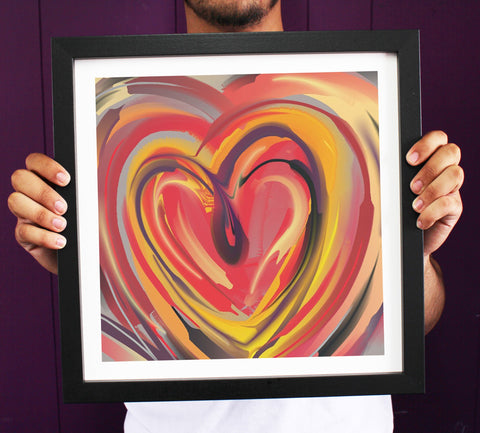 Irony Framed Art 38cmx38cm Abstract Freedom 'Love Heart' Framed Art Print ART115