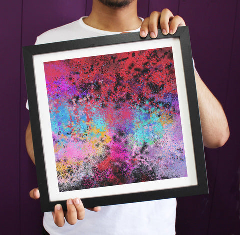 Irony Framed Art 38cmx38cm Abstract Frustration Paint Splatters Framed Art Print ART110