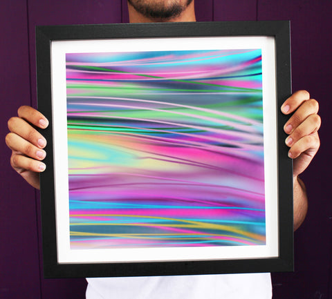 Irony Framed Art 38cmx38cm Abstract 'Movement 2' Vibrant Colours Framed Art Print ART117
