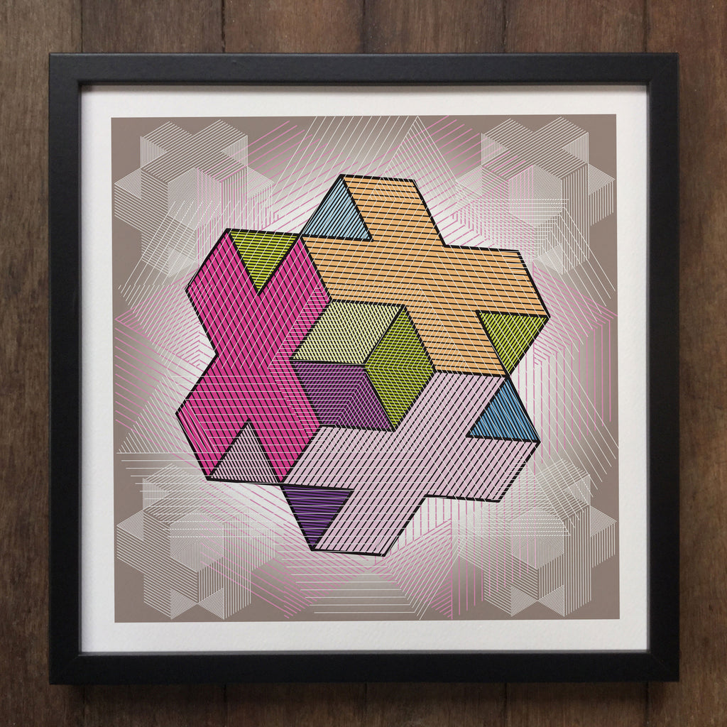 Irony Framed Art Abstract Geometrical 3d shapes Framed Art Print Geo-ART94