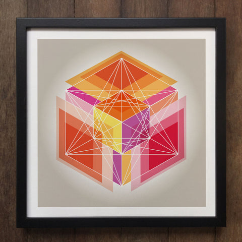 Irony Framed Art Abstract Geometrical 3d shapes Framed Art Print Geo-ART95