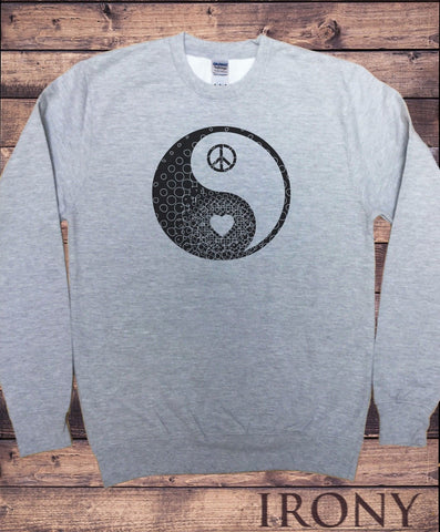 Irony Hoodies & Sweats Mens Grey Sweatshirt Yin Yang- Heart CND Print SWT295