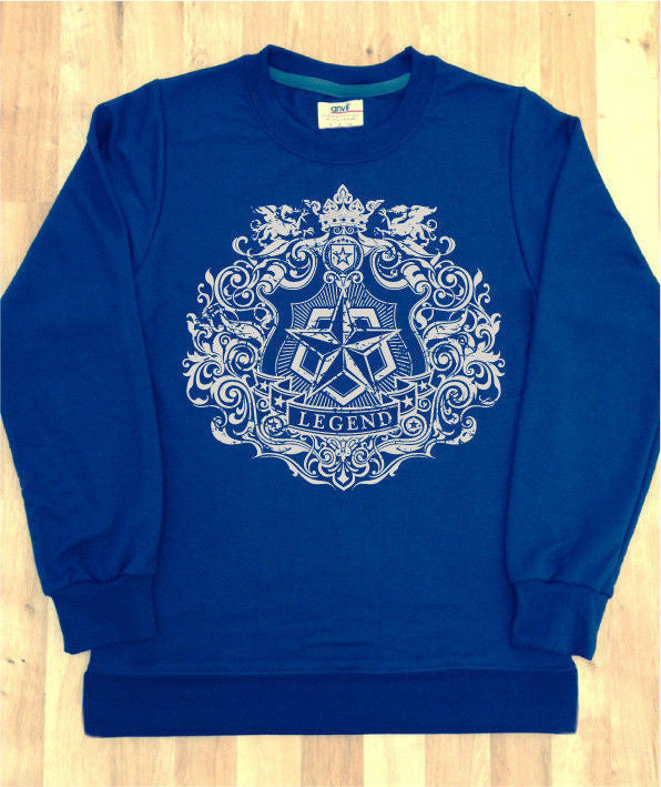 Irony Hoodies & Sweats Mens Navy Sweatshirt With Legend Peace Respect White Print Logo Swag Fashion