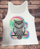Irony T-shirt Jersey Tank Top Colourful Owl Icon with Tie dye effect Owl Zen Print JTK756