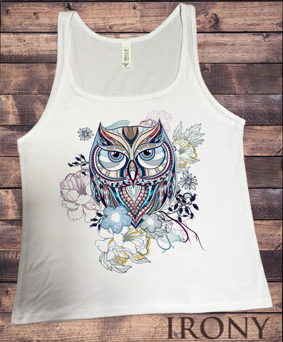 Irony T-shirt Jersey Tank Top Owl Abstract Colours- Flowery OWL Print JTK582