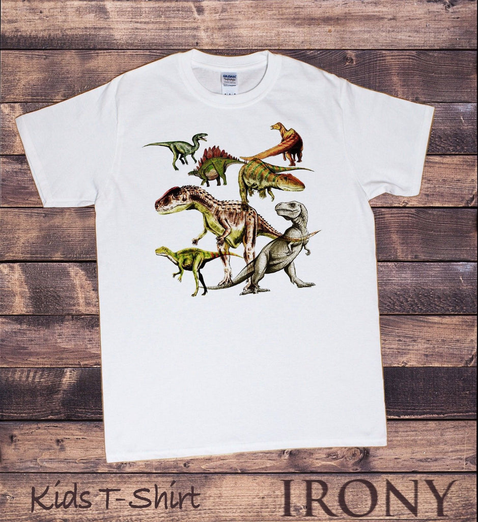 Irony T-shirt Kids White T-Shirt Dinosaurs Fashion Print KDS14