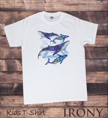 Irony T-shirt Kids White T-Shirt Dolphin Geometric Design- Space Effect Dolphins KDS606