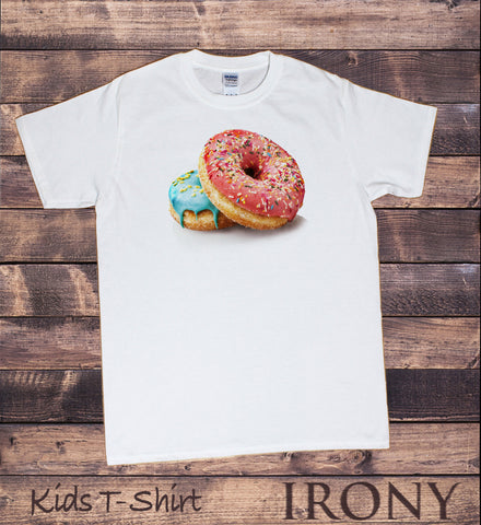 Irony T-shirt Kids White T-Shirt Donut Lover Tee- Delicious Donuts Print KDSC16