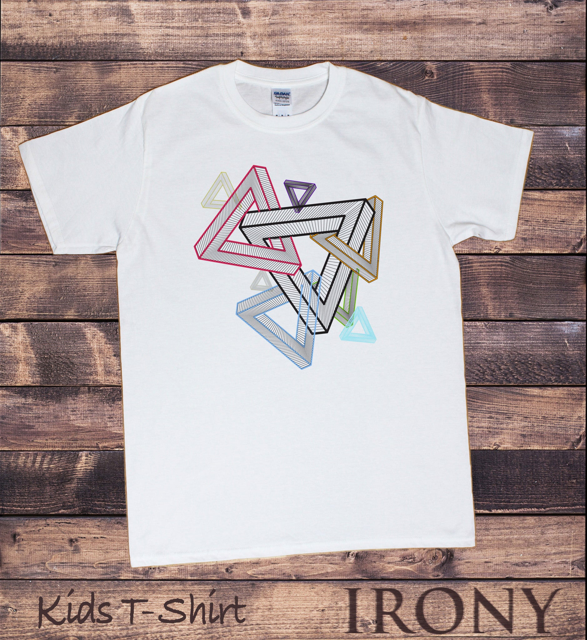 79b49564 Irony T-shirt Kids White T-Shirt Geometric Abstract Design Tee KDS580
