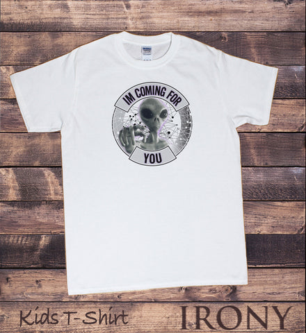 "Irony T-shirt Kids White T-Shirt ""Im Coming For You"" Alien Iconic Tribute- Funny Geometric Print KDS572"