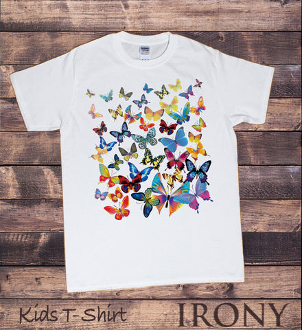 Irony T-shirt Kids White T-Shirt With Scattered Butterfly Print KDS-A5