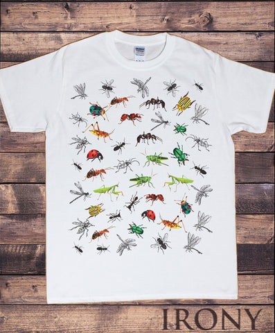 Irony T-shirt Men's Tee Creepy Crawlers- Insects All Over- Ladybird, Spiders, Bugs TS738