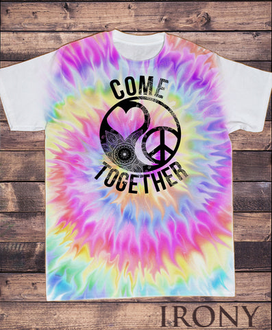 "Irony T-shirt Men's Tie Dye Top ""Come Together"" Love Heart and Peace CND icon SUB720"