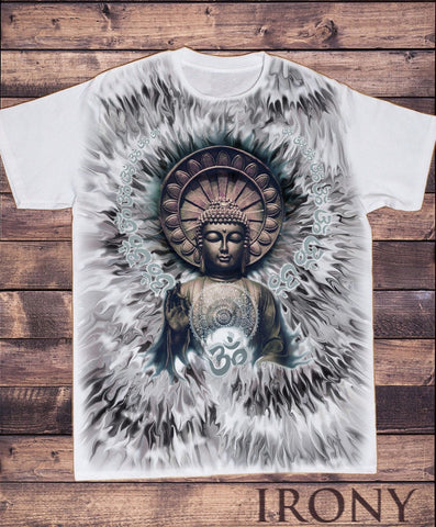 Irony T-shirt Men's White T-Shirt Beautiful Jade Om Aum Yoga Buddha Chakra Meditation SUB5914