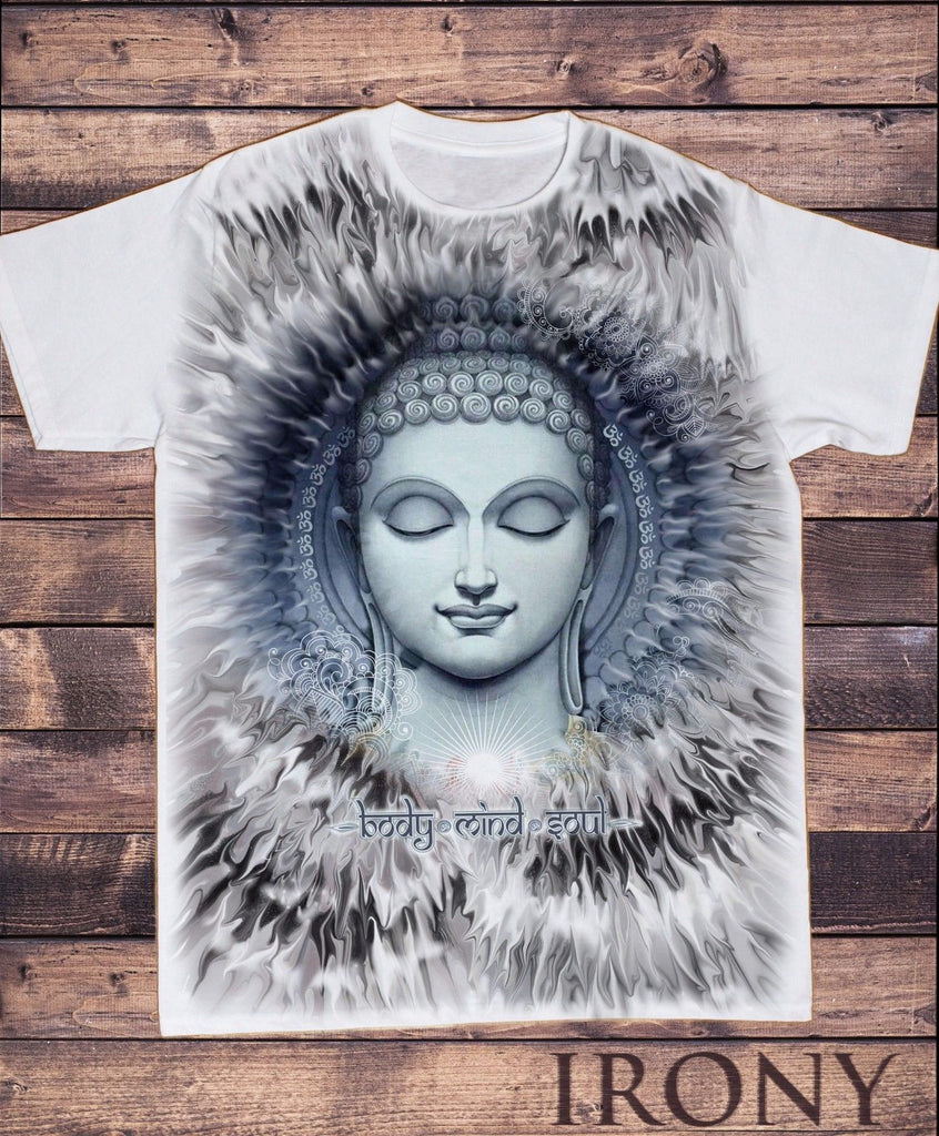 Irony T-shirt Men's White T-Shirt Body Mind Soul Buddha Chakra Meditation Zen Print SUB5913