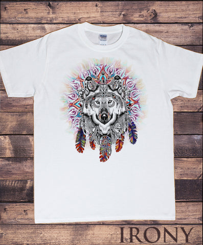 Irony T-shirt Men's White T-Shirt Colourful Wolf Icon -Feathers Tie Dye Print TS758