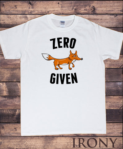 "Irony T-shirt Men's White T-Shirt Fox Iconic Print ""Zero FOX Given"" Funny Sarcastic Print TS803"
