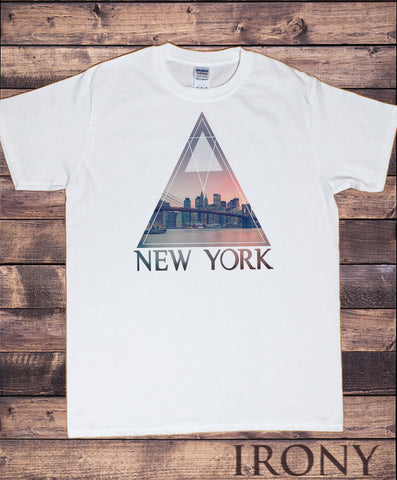 Irony T-shirt Men's White T-Shirt New York City- America triangle Pattern Print TS734