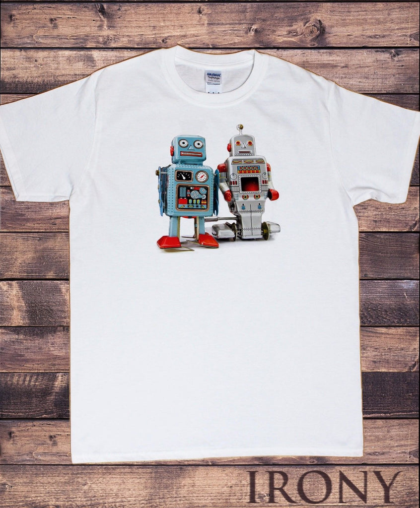 Irony T-shirt Men's White T-shirt Tin T Robot Godzilla Top Fashionable Funny Swag Print TSI10