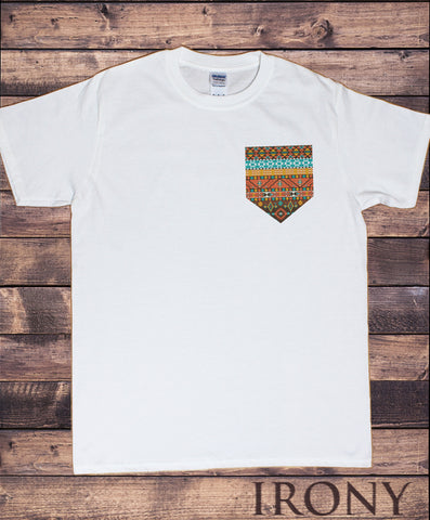 Irony T-shirt Men's White T-Shirt With Aztec Pocket Print Printed Chest Pocket Print TSH2