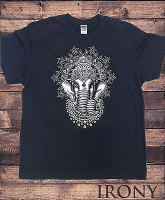 Irony T-shirt Mens Black T-shirt Ganesh Elephant God Line Art Meditation India Zen Hobo Yoga