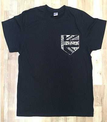 Irony T-shirt Mens Black T-Shirt With British Flag Print Pocket Print Chest Pocket 100% Cotton