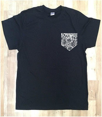 Irony T-shirt Mens Black T-shirt With White Floral Design 2 Print Pocket Printed Chest Pocket