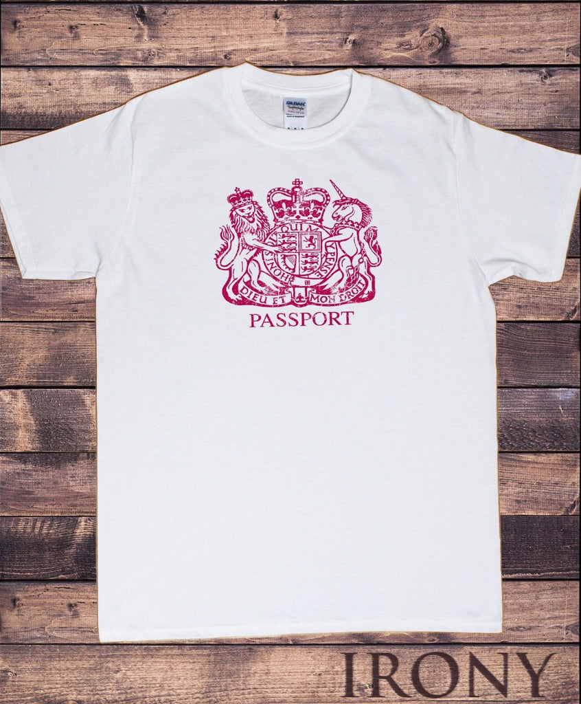 Irony T-shirt Mens Brand New White T-Shirt  British Passport Stamp T-Shirt in Cotton TSU3