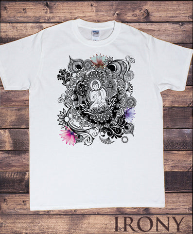 Irony T-shirt Mens Buddha Lotus Meditation Yoga Flower Namaste Art Pattern Spiritual Tee Hobo TSY12