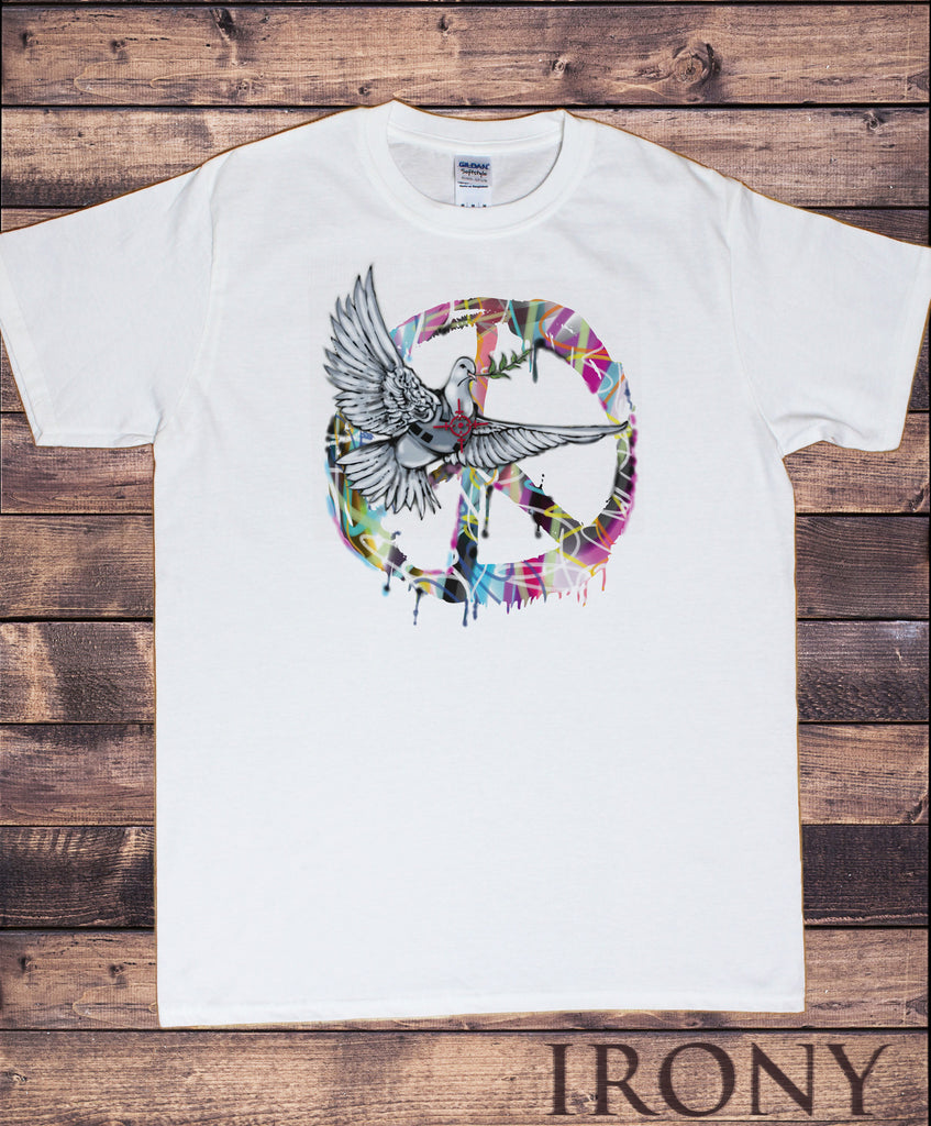 Irony T-shirt Mens Dove T Shirt Military CND Peace logo Retro and hippy - Antiwar Peace Signs TSI7