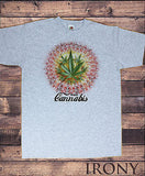Irony T-shirt Mens Grey T-shirt Enjoy Cannabis  Weed Cool Funny Novelty Print