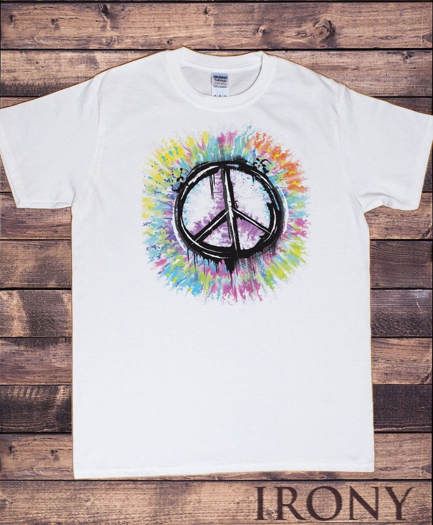 Irony T-shirt Mens Hipster Peace Sign T-shirt Military CND Peace Logo Retro Antiwar Hippy TSL3